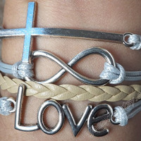 Antique silver letters LOVE, the infinite causal relationship and the cross bracelet bracelet, leather woven bracelet  J-11
