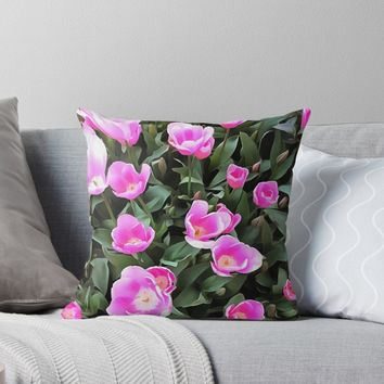 'Delicate Pink Tulips Of Istanbul ' Throw Pillow by taiche