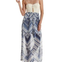 Blue Combo Crochet & Chevron Maxi Dress by Charlotte Russe