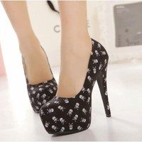 Womens Black High Heel Stilettos Court Pump Shoes Platform Skulls Cloth Material
