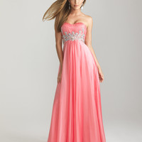 Coral Chiffon Beaded Empire Waist Prom Dress - Unique Vintage - Cocktail, Pinup, Holiday & Prom Dresses.
