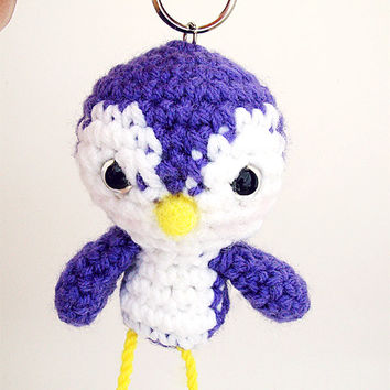 Purple Crochet Plush Amigurumi Bird Keychain Charm