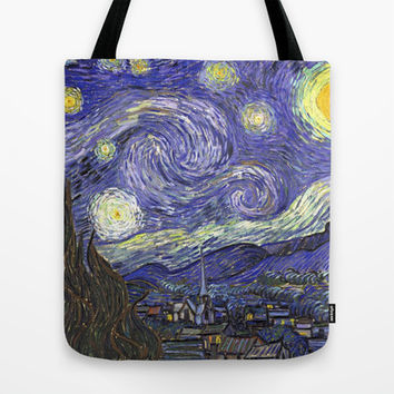 Starry Night, by Vincent van Gogh.  famous impressionism fine art landscape oil painting. Tote Bag by NatureMatters