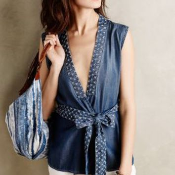 Stitched Chambray Vest by Holding Horses Dark Denim