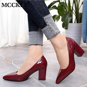 MCCKLE Summer Elegant Plus Size Women Pumps Ladies Shallow Slip On  Pointed Toe High Heels Wedding Shoes Thick Heel Footwear
