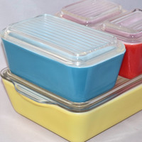 Vintage Glassware-Refrigerator Dishes-Pyrex-Primary Colors