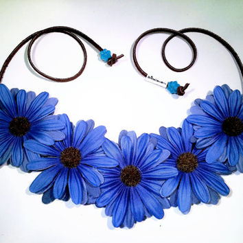 Blue Daisy Flower Headband, Flower Crown, Flower Halo, Festival Wear, EDC, Ultra Music Festival, Rave