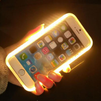 2016 New Fashion LED Light Selfie Phone Case Back Hard Cover for Apple iphone 5 5s 6 6s 6plus Luminous Phone Case