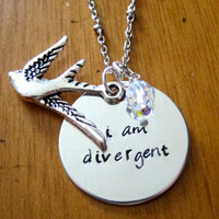 """Divergent Inspired Necklace. Tris quote """"I am divergent"""". Birds Tattoo, Silver colored, Swarovski crystal, charm pendant, jewelry."""