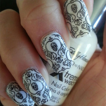 Free Shipping - SKULL DAMASK Nail Art (SKD)- Full Long and Short Nails Wraps-  Waterslide Decals - Not Stickers or Vinyl