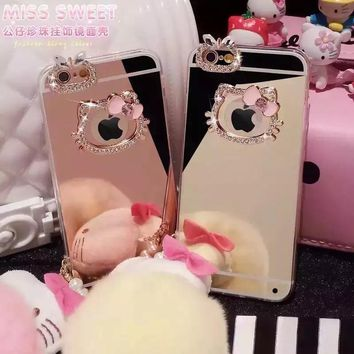 Luxury hello kitty mirror Rhinestone Case for iphone X Cases 5s 5 SE 6s 6 7 8 Plus case Diamond Soft TPU plating Phone Cases