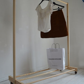 Handmade, Natural Wood, Clothes Rail with Shelf with Wheels