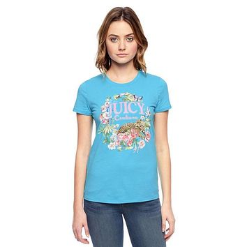 Juicy Couture Floral Tiger Graphic Tee T011 Women T-shirt Blue