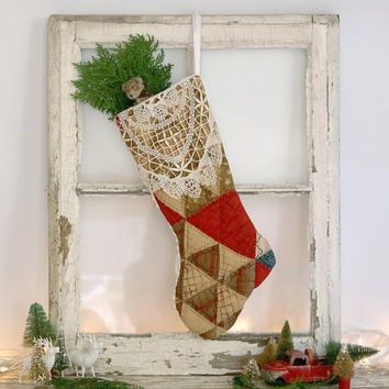 Christmas Stocking Made from Vintage Quilt, Rustic Cottage Christmas Stocking, Vintage Style Christmas Stocking, Folk Art Primitive Stocking