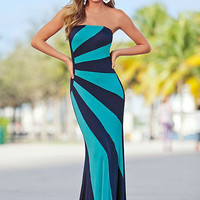 Blue Striped Strapless Maxi Dress