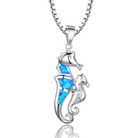 Sterling Silver Seahorse Mother and Child Blue Green Fire Opal Pendant Necklace