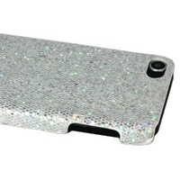ASleek Silver Bling Sparkle Glitter Hard Case Back Cover for Apple iPod Touch 5th Generation 5G + Asleek Microfiber Cloth