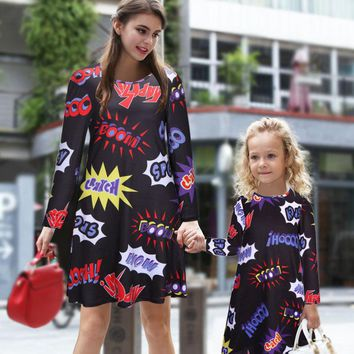 Family Matching Outfits 2016 Fall Fashion Christmas Parents Dress  Costumes Girls Europe and America Cartoon Pattern Print Dre
