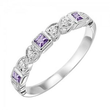 10k white gold diamond and square amethyst birthstone ring