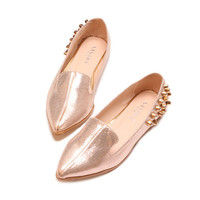 Stylish Women's Flat Shoes With Rhinestone and Pointed Toe