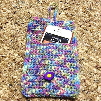Cell Phone Case, Camera Case, iPhone Case, Pouch, Crochet Case, Blue Purple Multi Color