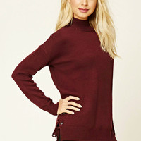 Lace-Up Mock Neck Sweater