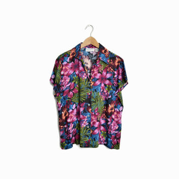 Vintage 90s Tropical Print Floral Shirt in Red Violet/Blue/Green - women's medium/large