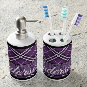 Purple, Black and White Plaid Personalized Bath Set