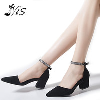 NIS Crystal Buckle Strap High Heel Women Shoes,Pointed Ankle Strap Women Sandals,Summer Rhinestone 6cm Block Heel Sandals