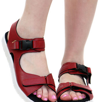 RED BUCKLE SANDAL