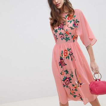 ASOS DESIGN Smock Midi Dress With Bird And Floral Embroidery at asos.com
