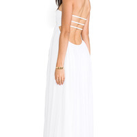 Indah Flamingo Smocked Bandeau Lined Maxi Dress in White