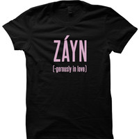 ZAYN MALIK T-SHIRT ZANGEROUSLY IN LOVE SHIRT LADIES SHIRT UNISEX TEE CHEAP FASHIONS BIRTHDAY GIFTS CHRISTMAS GIFTS from CELEBRITY COTTON