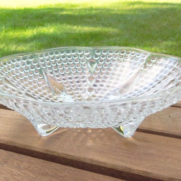 Footed scallop-edge hobnail glass candy dish - Glass trinket dish