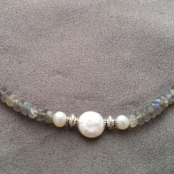 Labradorite and pearl necklace,. Soft grey color with flashes of light, 18 inches in length, made in Oregon, made in USA