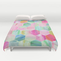 Pretty Pastel Hexagon Pattern in Oil Paint Duvet Cover by Micklyn