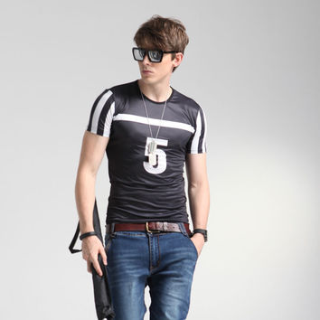 Short Sleeve Men's Stylish Korean Tee Round-neck Men's Fashion Bottoming Shirt Slim Fashion Summer Print T-shirts = 6450464515