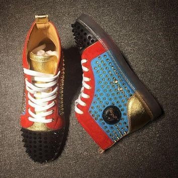DCCK Cl Christian Louboutin Louis Spikes Mid Style #1816 Sneakers Fashion Shoes