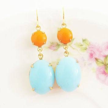 Turquoise Blue Tangerine Orange Earrings - Glass Jewel Glamour Dangle Earrings - Wedding, Bridal, Bridesmaid Earrings
