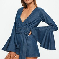 Missguided - Blue Dark Wash Denim Tie Waist Romper