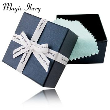 7.2*7.2*4.6 High Quality Gilding Paper Square Jewelry  Boxes with Sponge Opp Bags Macaron bowknot Jewellery Gifts Case Box Y6044