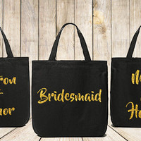 Bridal Party Tote Bag Set, Black Tote Bag, Cotton Tote, Re-usable Shopping bag, Bridesmaid Gift