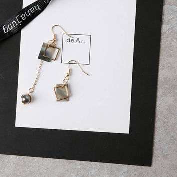 Didi - Gold plated mother of pearl asymmetrical square dangle earrings