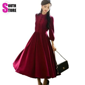 Casual Vintage Elegant Stand Collar Puff Sleeve Lace Patchwork High Waist Maxi Women's Dress