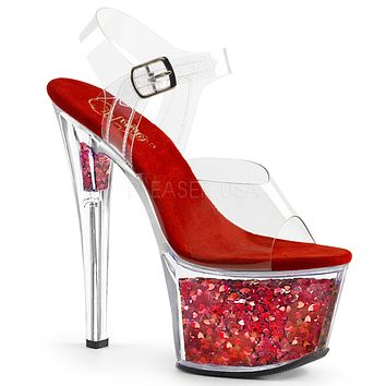 "Sky 308GF Clear Platform Red Hologram Glitter Flake Ankle Strap Shoe 7"" High Heel"