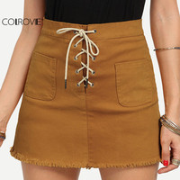 COLROVIE Plain Lace-Up Fly Dual Pocket Raw Hem Bodycon Mini Skirts Women's Summer Casual Above Knee Sheath Skirt