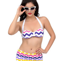 Esther Williams 1950s Style White & Multi Zig Zag Maree Two Piece Swimsuit