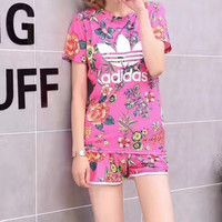 """Adidas"" Women Sports Casual Multicolor Flowers Print Short Sleeve Shorts Set Two-Piece Sportswear"