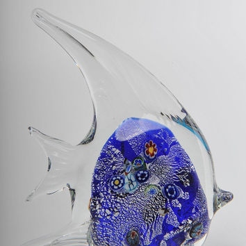 Glass Decoration of a Clear Fish with Blue Belly Home Decor Murano Art Styled Blown Glass Figurine Colorful Statue