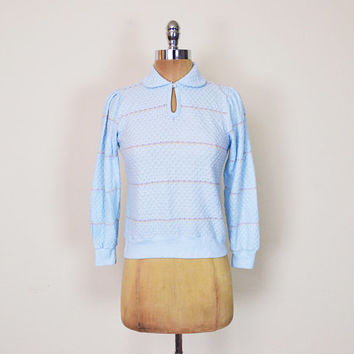 Vintage 70s 80s Pastel Baby Blue Stripe Sweater Jumper Top Peter Pan Collar Sweater Open Knit Sweater Puff Sleeve Sweater Women S Small